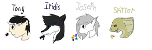 Tony, Iridis, Joseph, and Spitter reference sheets by Helkie-three