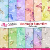 Watercolor Butterflies digital papers by PolpoDesign