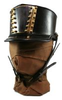 STEAMPUNK LEATHER SHAKO - blackened brass by AmbassadorMann