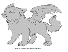 Winged Wolf or Dog Lineart by BRlCK