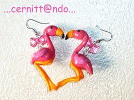 Fimo flamingoes earrings by cernittando