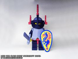 Papercraft LEGO Castle Black Knight minifig turnin by ninjatoespapercraft