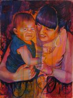 Mother and Daughter Portrait by Sinitalela