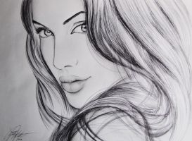 Angelina Jolie -Graphite Pencil and Ballpoint Pen by MichelleKnightDA