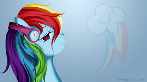 Rainbow Dash with headphones by AvareQ