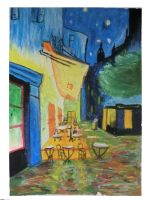 Van gogh - Cafe Terrace at Night - oil pastel by NatalieCara