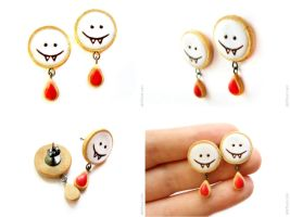 Halloween Vampire Cookies Earrings Post by allim-lip