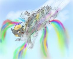 Derpy tries to land in Cloudsdale by AlloyRabbit