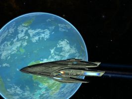 USS Godspeed over Risa by Archanubis