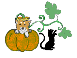 Halloween Shiba and Cat by redshasta