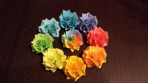 Twirly rainbow origami flowers by CharismaIsMyDropStat