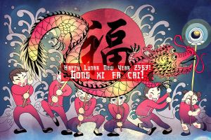 Happy Lunar New Year Greeting Card by artemiscrow