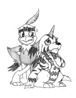 Hawkmon and Gabumon by Pokelai