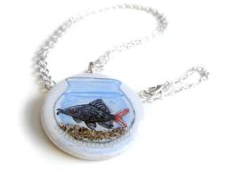 Red-Tailed Black Shark - Pendant Necklace by sobeyondthis