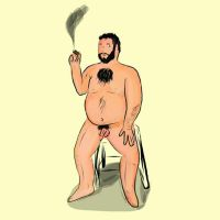 Nude with Cigar and Stool by coinoperatedbear