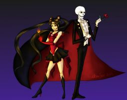 Sailor Valkyrie and Tuxedo Skull by UrbanStar