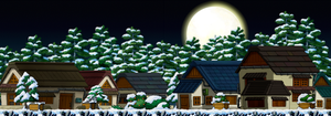 Snowy Night Time Neighborhood Custom Background by EightQueens