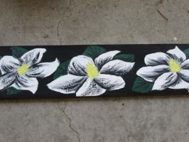 Painted Wooden Board- Three Magnolias by JadasArtVision