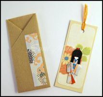 Bookmark-Little Japanese Doll-Orange cotton thread by SuniMam