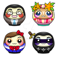 Commission: Daruma Redesigns by xraiko