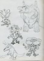 Pokemon Sketches by CrimsonGriffin