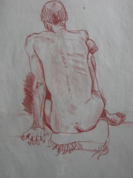 Study of Sitting Male Model by wikkedvenus