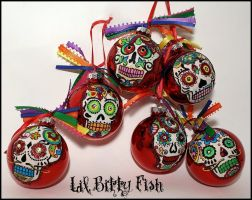 Dia de los Muertos Ornament Sugar Skull in Red by LilBittyFish
