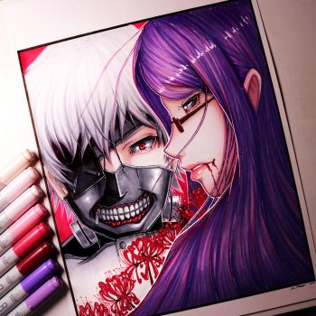 Kaneki and Rize from Tokyo Ghoul by LethalChris