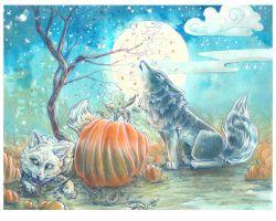 Pumpkin Patch Wolfies by manic-goose