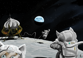 Hamsters on the Moon by Ikleyvey