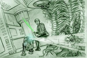Jedi vs. Aliens by Jimmy-B-Deviant