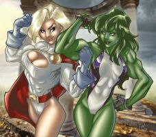 She Hulk vs Power Girl by Nema by minisweet