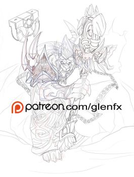 World of Warcraft Worgen linework by Axigan