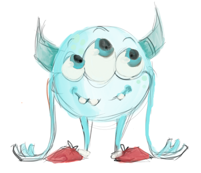 lil blue monster by MiekyMouse