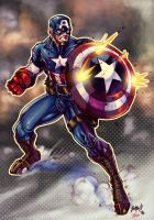 captain america color by toonfed