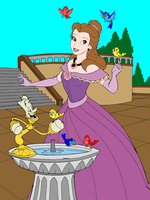 Belle and Lumiere by the fountain by Zanny-Marie