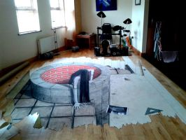 unfinished horror themed anamorphic drawing by Maak410