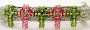 Pink+Green Cross Hairclip by pinkythepink