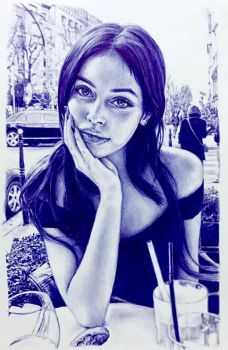 Ballpoint pen drawing of Cindy Kimberly by chaseroflight