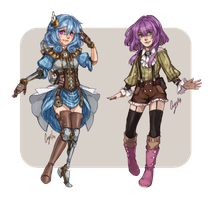 Custom Designs: Steampunk Alpha and Isabelle by crys-art