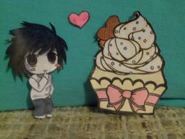 L and cupcake paper child by amyosaurus-rex