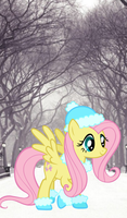 Fluttershy in winter by El3ctro-Mess