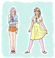 switched clothes - Fluttershy and Rainbow Dash by MyLittleNiobeh