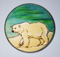 Pyrography Polar Bear Aurora Plaque by BumbleBeeFairy