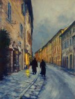 Twilight - Assisi - OIL PAINTING by AstridBruning