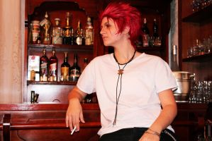 Suoh Mikoto - At the bar by Kanariacage