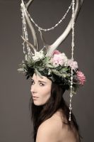 Photoshoot with antlers headdress by Firefly182