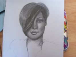 Rihanna unfinished by pencil-to-papaer