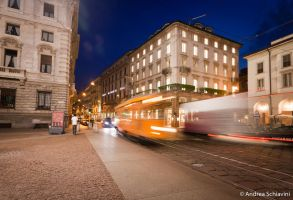 Light trails in Milan by Metalelf0