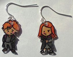 Kawaii Ron and Ginny earrings by Lovelyruthie